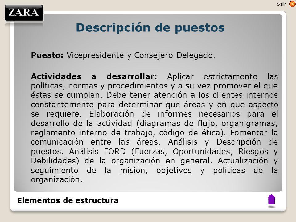 Descripción de puestos Puesto: Vicepresidente y Consejero Delegado. Actividades a desarrollar: Aplicar estrictamente las políticas, normas y procedimi