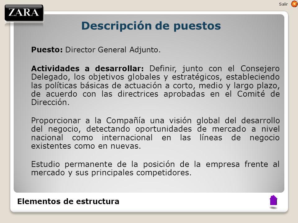 Descripción de puestos Puesto: Director General Adjunto. Actividades a desarrollar: Definir, junto con el Consejero Delegado, los objetivos globales y