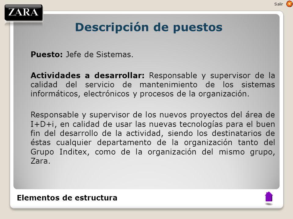 Descripción de puestos Puesto: Jefe de Sistemas. Actividades a desarrollar: Responsable y supervisor de la calidad del servicio de mantenimiento de lo