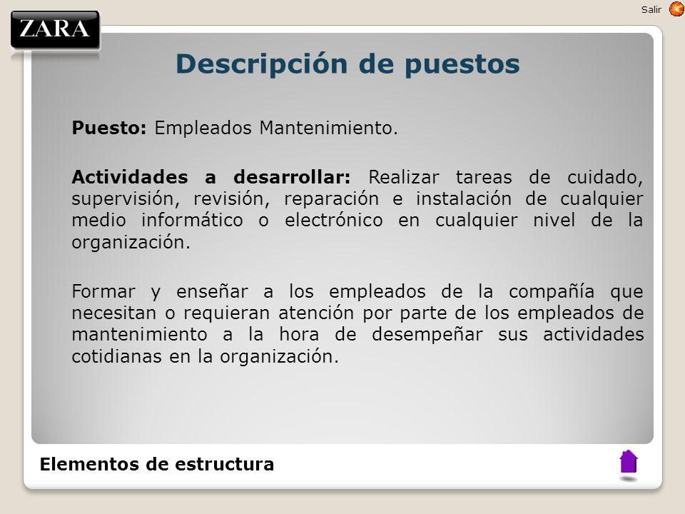Descripción de puestos Puesto: Empleados Mantenimiento. Actividades a desarrollar: Realizar tareas de cuidado, supervisión, revisión, reparación e ins