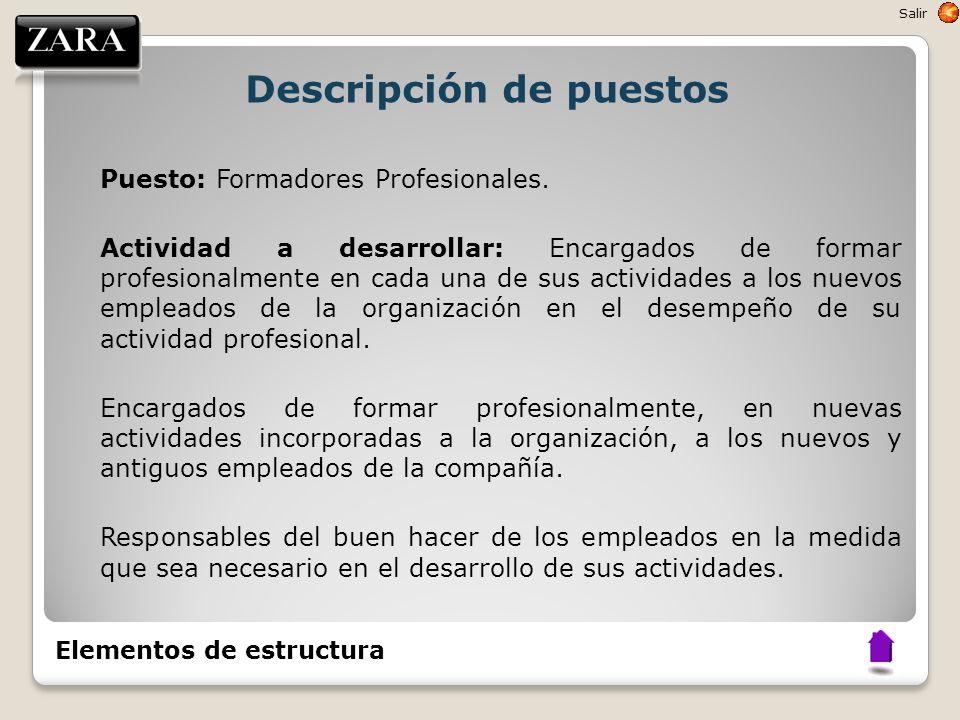 Descripción de puestos Puesto: Formadores Profesionales. Actividad a desarrollar: Encargados de formar profesionalmente en cada una de sus actividades