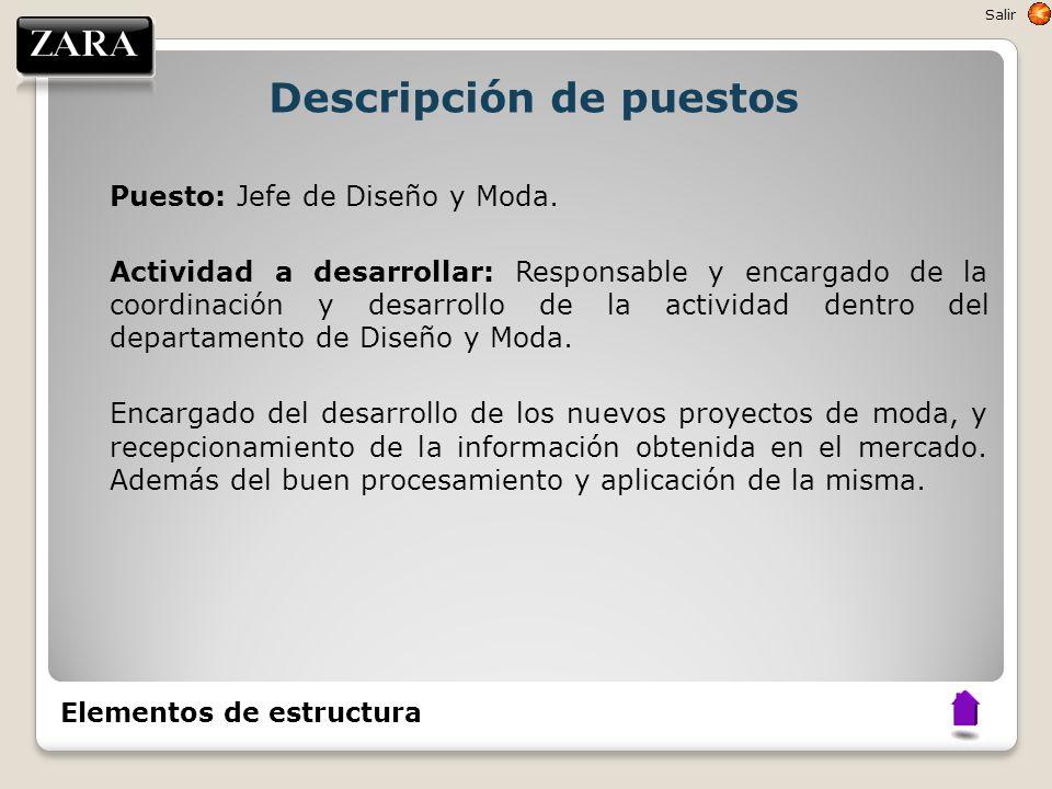Descripción de puestos Puesto: Jefe de Diseño y Moda. Actividad a desarrollar: Responsable y encargado de la coordinación y desarrollo de la actividad