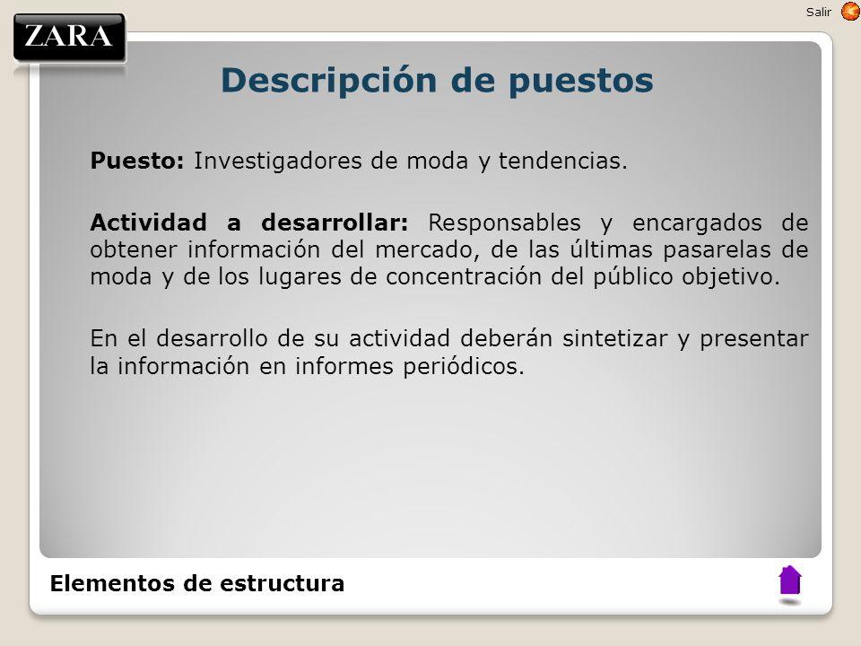 Descripción de puestos Puesto: Investigadores de moda y tendencias. Actividad a desarrollar: Responsables y encargados de obtener información del merc