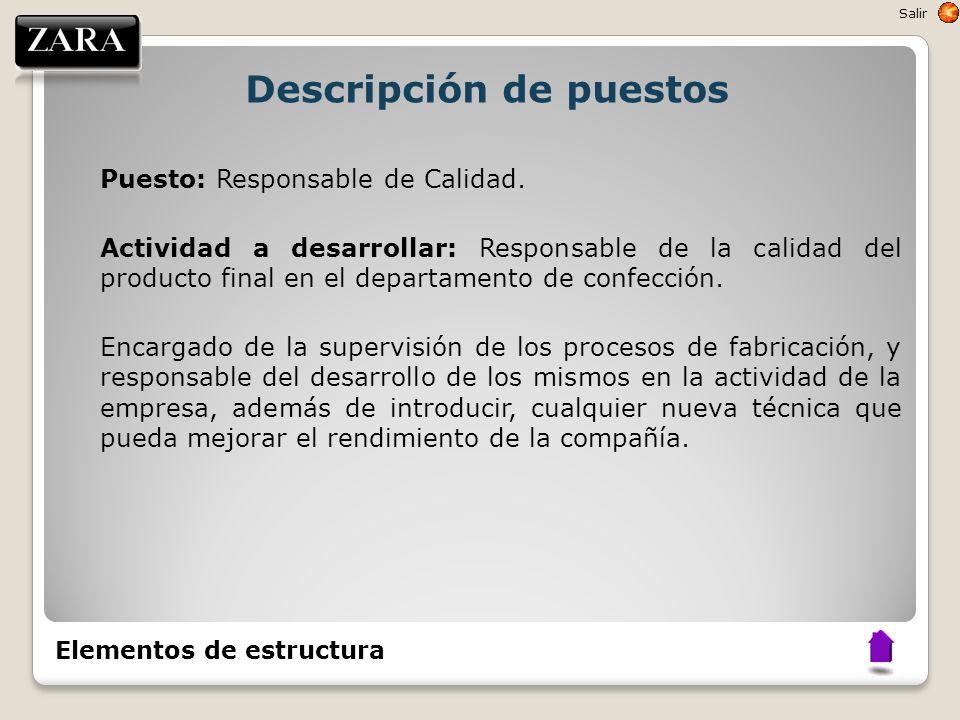 Descripción de puestos Puesto: Responsable de Calidad. Actividad a desarrollar: Responsable de la calidad del producto final en el departamento de con