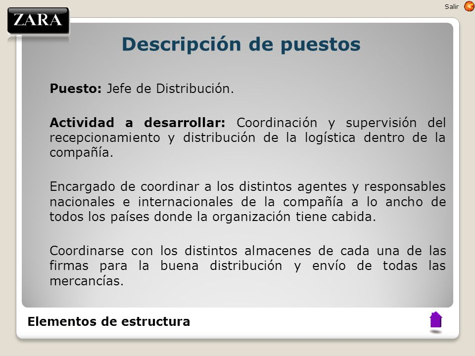 Descripción de puestos Puesto: Jefe de Distribución. Actividad a desarrollar: Coordinación y supervisión del recepcionamiento y distribución de la log