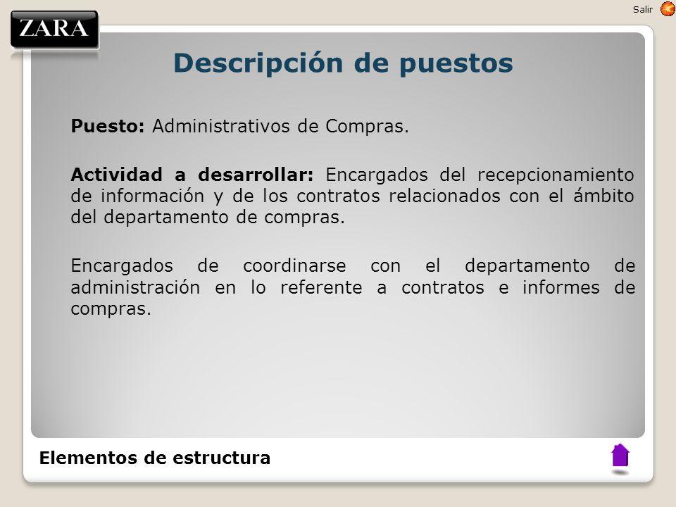 Descripción de puestos Puesto: Administrativos de Compras. Actividad a desarrollar: Encargados del recepcionamiento de información y de los contratos
