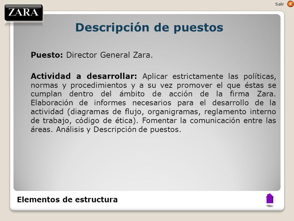 Descripción de puestos Puesto: Director General Zara. Actividad a desarrollar: Aplicar estrictamente las políticas, normas y procedimientos y a su vez