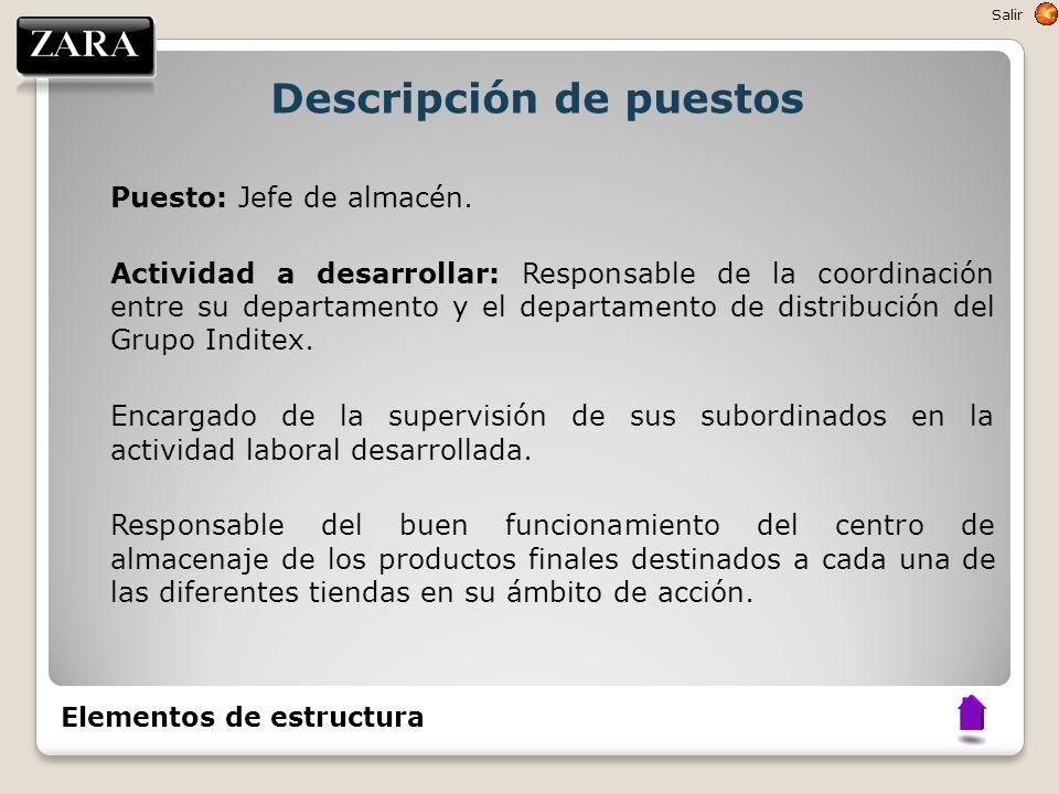Descripción de puestos Puesto: Jefe de almacén. Actividad a desarrollar: Responsable de la coordinación entre su departamento y el departamento de dis