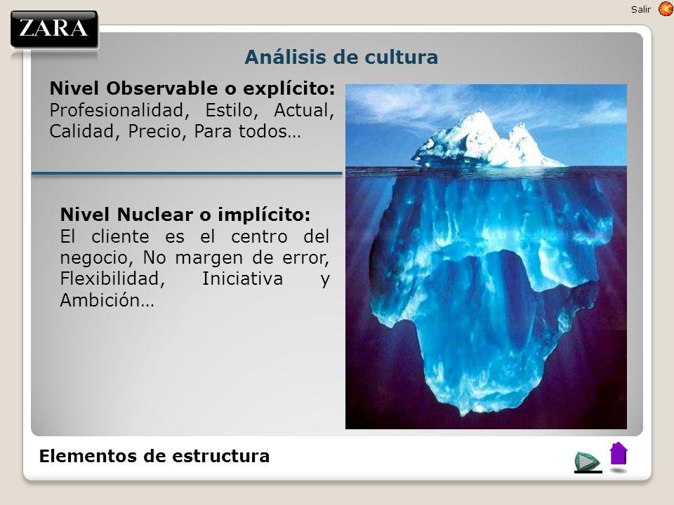 Análisis de cultura Nivel Observable o explícito: Profesionalidad, Estilo, Actual, Calidad, Precio, Para todos… Nivel Nuclear o implícito: El cliente