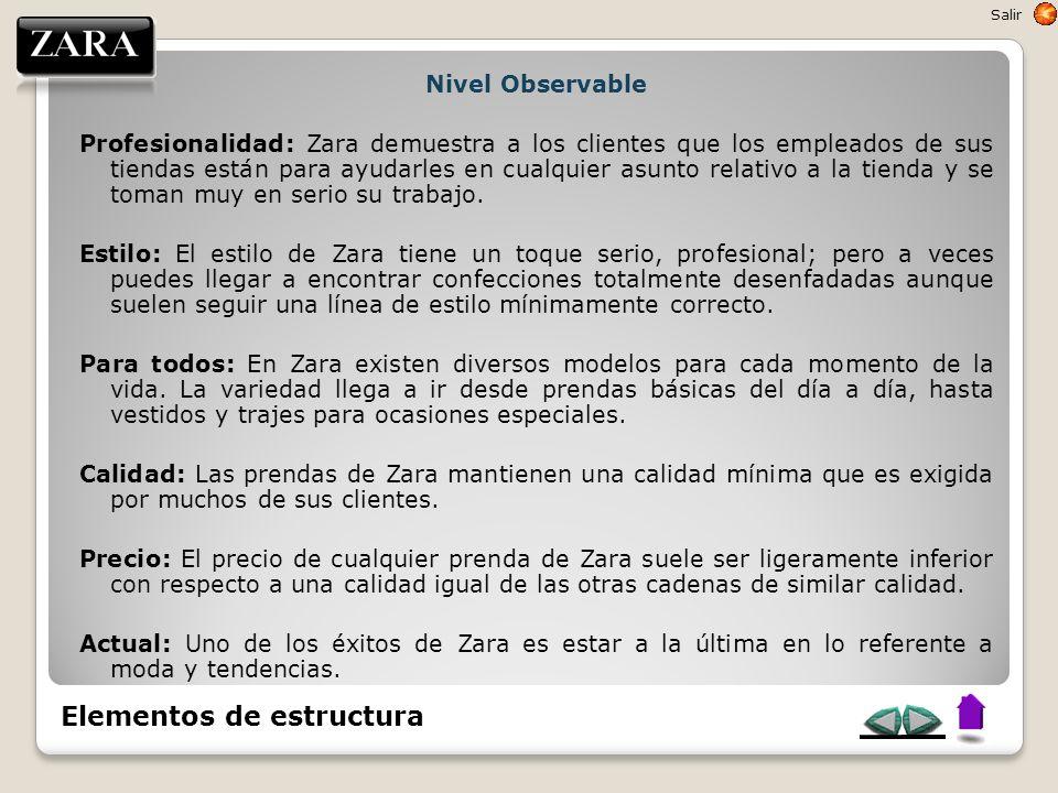Nivel Observable Profesionalidad: Zara demuestra a los clientes que los empleados de sus tiendas están para ayudarles en cualquier asunto relativo a l