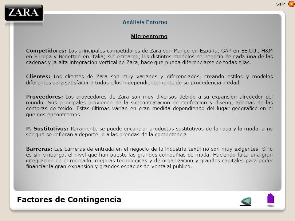 Análisis Entorno Microentorno Competidores: Los principales competidores de Zara son Mango en España, GAP en EE.UU., H&M en Europa y Benetton en Itali