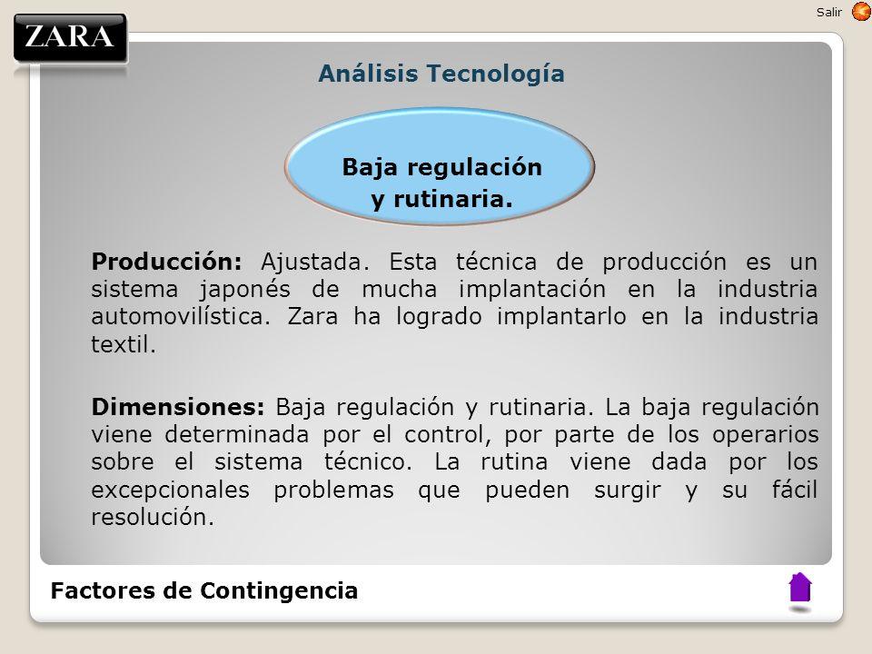 Análisis Tecnología Baja regulación y rutinaria. Producción: Ajustada. Esta técnica de producción es un sistema japonés de mucha implantación en la in