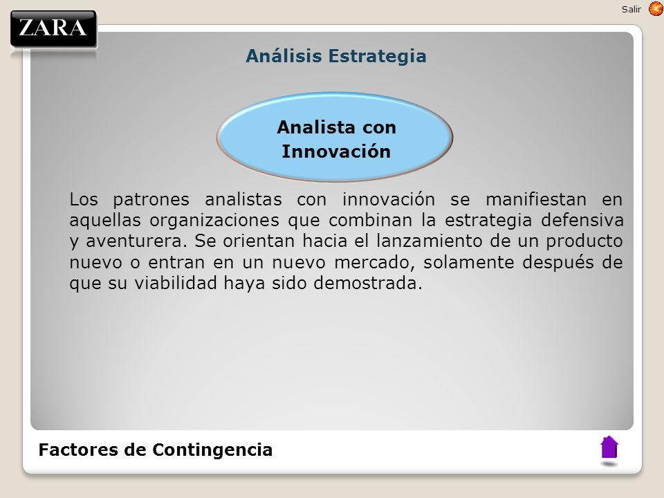 Análisis Estrategia Analista con Innovación Los patrones analistas con innovación se manifiestan en aquellas organizaciones que combinan la estrategia
