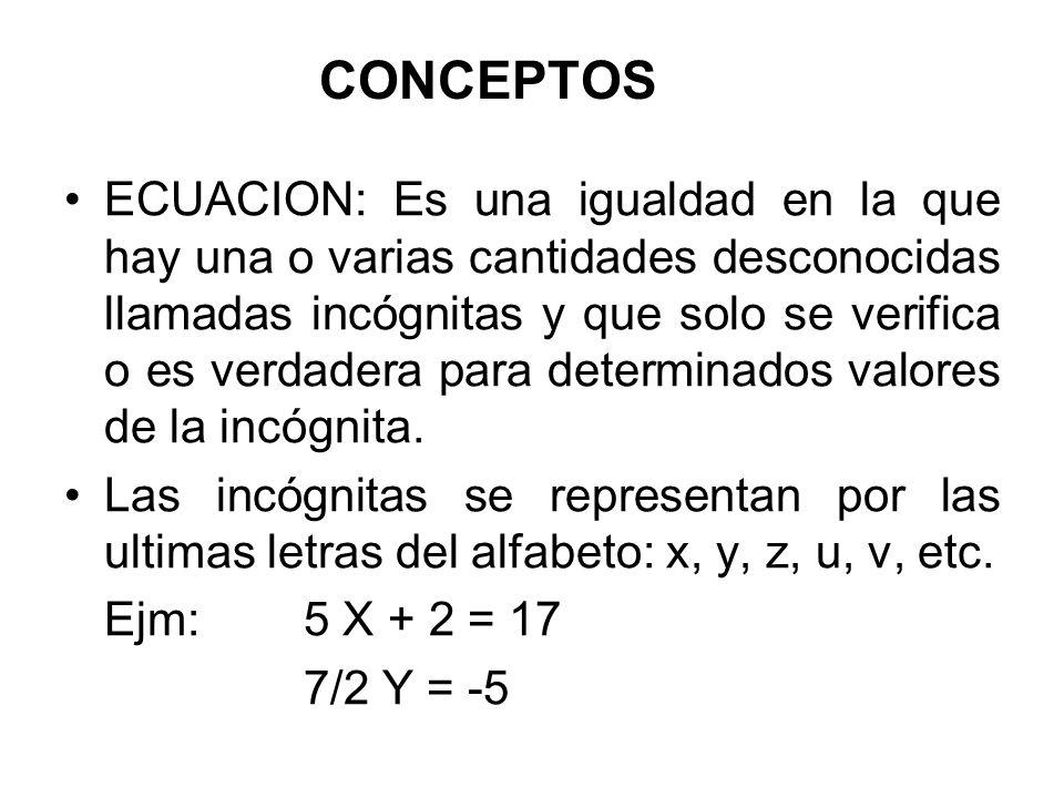 IGUALDAD: Es una expresión donde dos cantidades o expresiones algebraicas tienen el mismo valor.