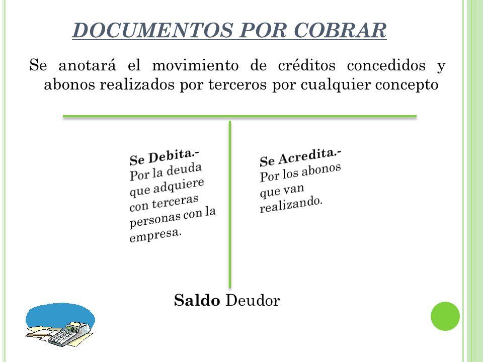 DOCUMENTOS POR COBRAR Se anotará el movimiento de créditos concedidos y abonos realizados por terceros por cualquier concepto Saldo Deudor G