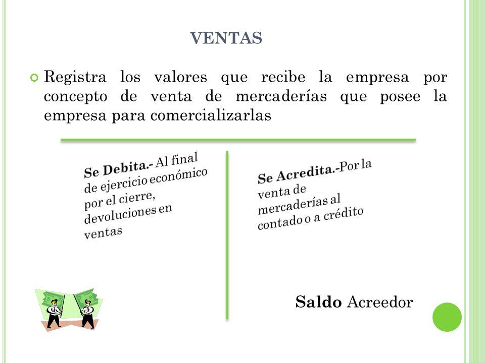 VENTAS Registra los valores que recibe la empresa por concepto de venta de mercaderías que posee la empresa para comercializarlas Saldo Acreedor G