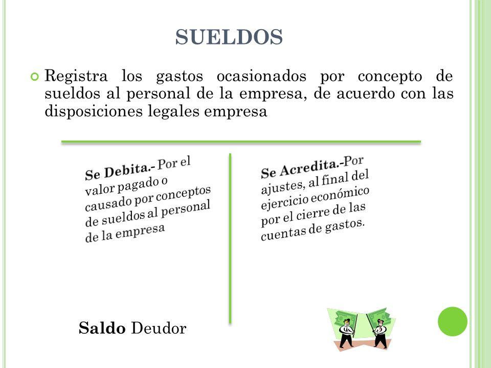 SUELDOS Registra los gastos ocasionados por concepto de sueldos al personal de la empresa, de acuerdo con las disposiciones legales empresa Saldo Deudor G