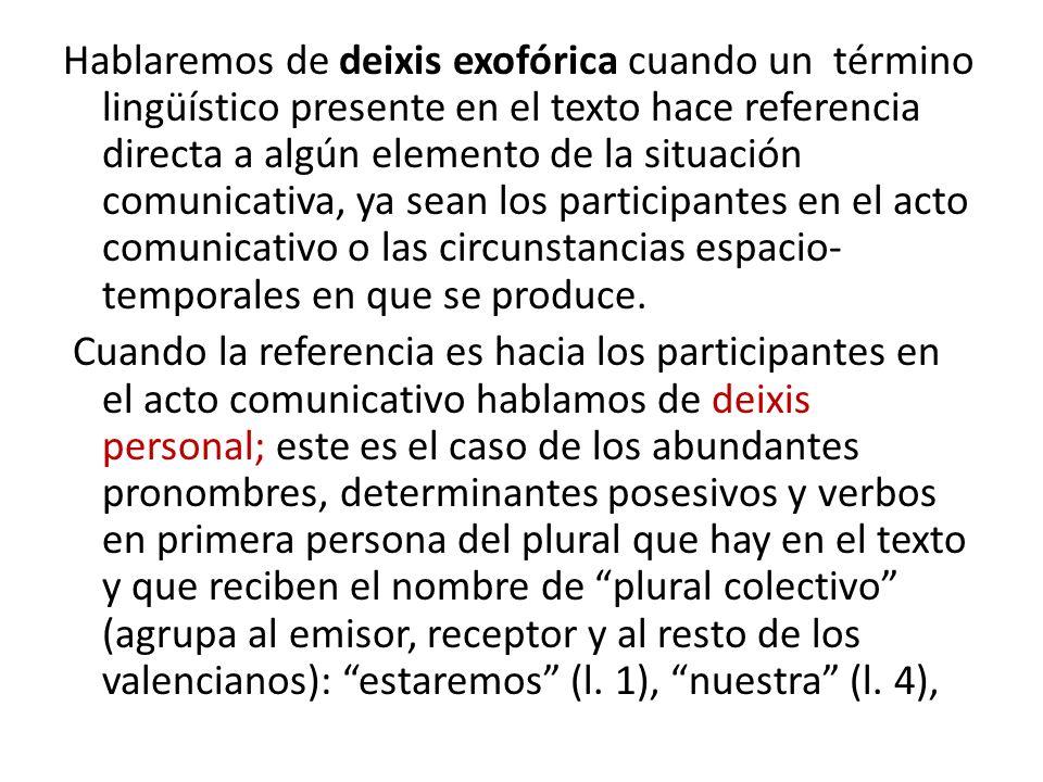 Hablaremos de deixis exofórica cuando un término lingüístico presente en el texto hace referencia directa a algún elemento de la situación comunicativa, ya sean los participantes en el acto comunicativo o las circunstancias espacio- temporales en que se produce.