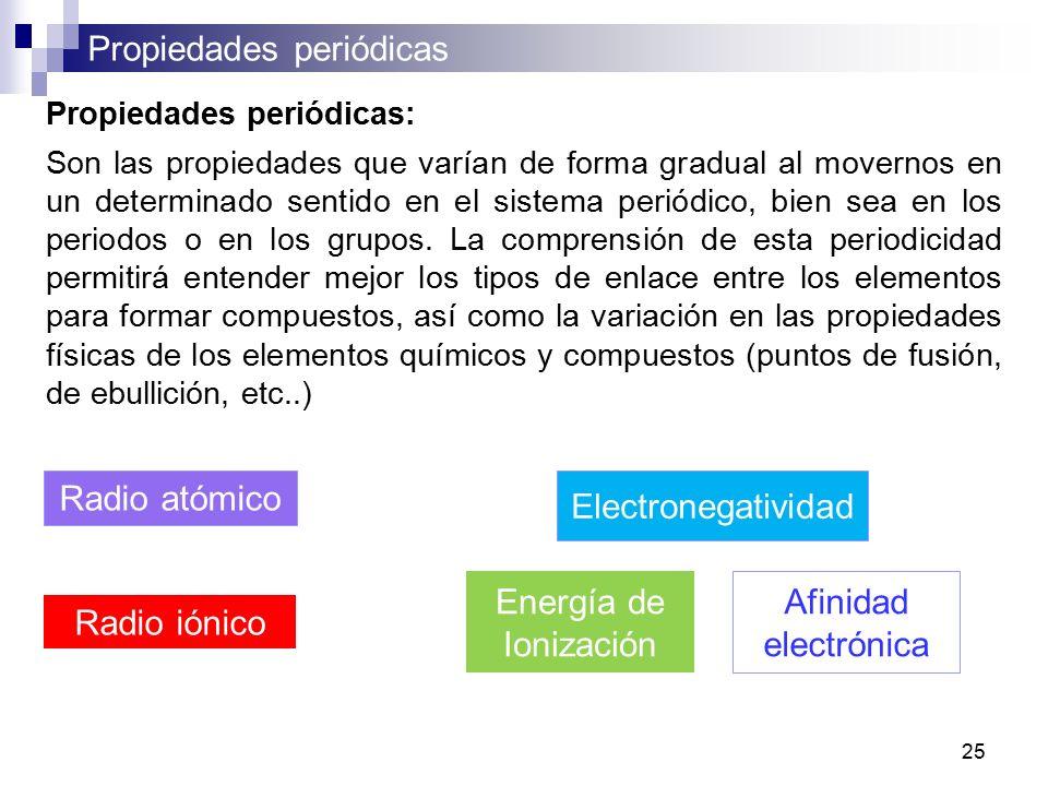 Curso de qumica i para q y tq semestre abril julio ppt descargar 25 radio atmico electronegatividad energa de ionizacin propiedades peridicas son las propiedades que varan de forma gradual al movernos en un urtaz Gallery