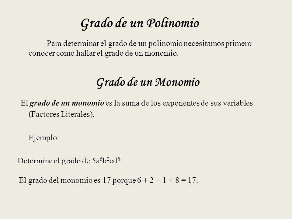 Grado de un Polinomio Para determinar el grado de un polinomio necesitamos primero conocer como hallar el grado de un monomio.