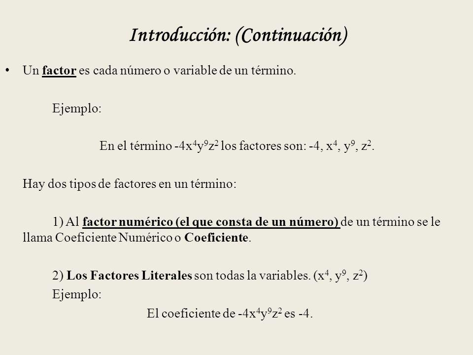 Introducción: (Continuación) Un factor es cada número o variable de un término.