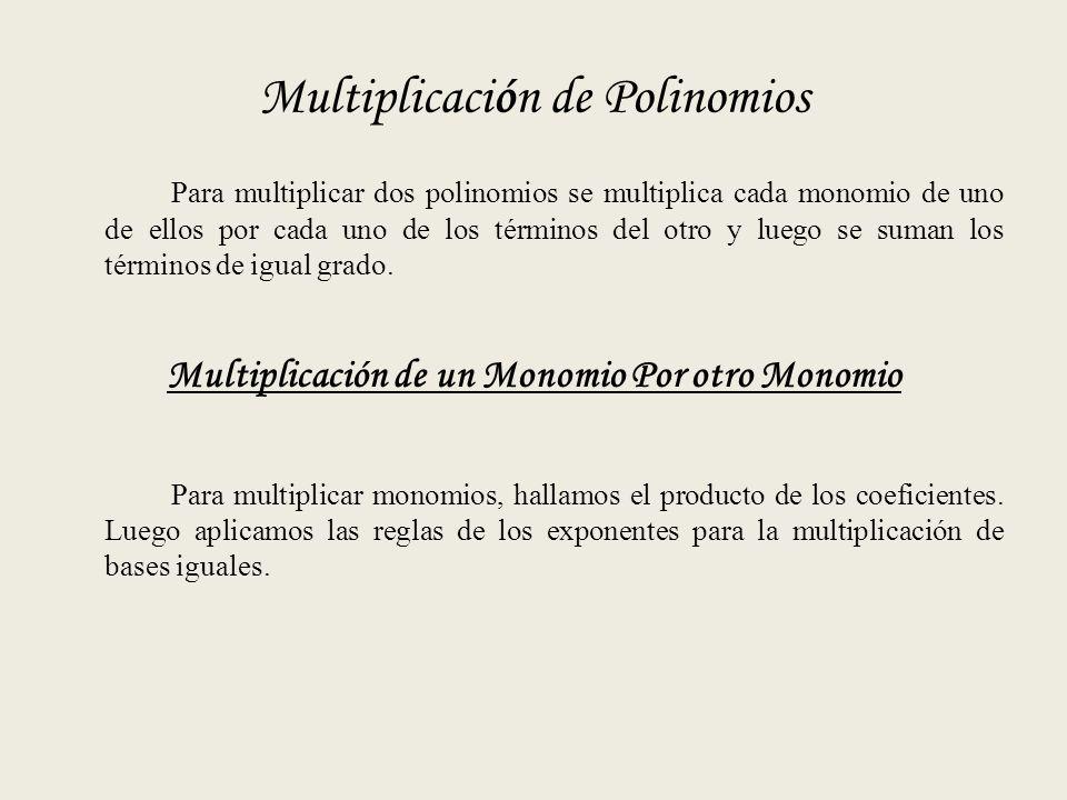 Multiplicación de Polinomios Para multiplicar dos polinomios se multiplica cada monomio de uno de ellos por cada uno de los términos del otro y luego se suman los términos de igual grado.