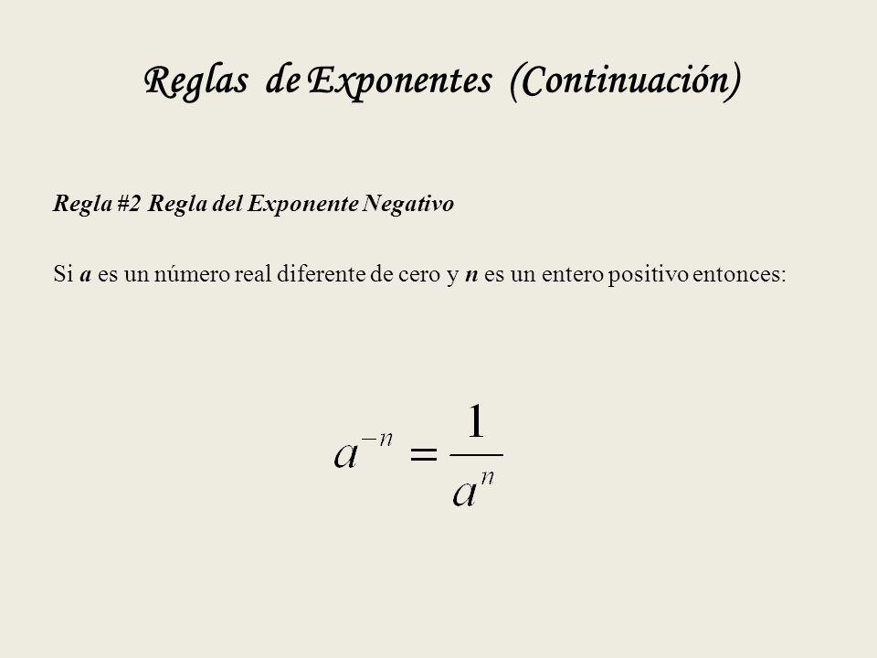 Reglas de Exponentes (Continuación) Regla #2 Regla del Exponente Negativo Si a es un número real diferente de cero y n es un entero positivo entonces: