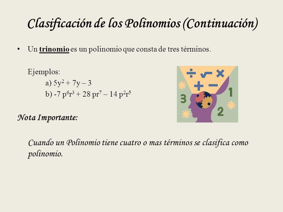 Clasificación de los Polinomios (Continuación) Un trinomio es un polinomio que consta de tres términos.