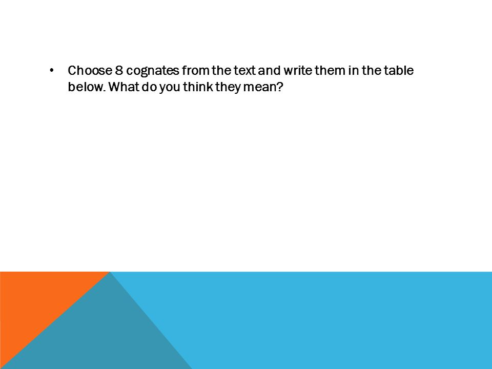 Choose 8 cognates from the text and write them in the table below. What do you think they mean