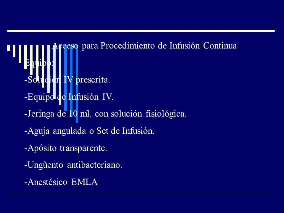 Acceso para Procedimiento de Infusión Continua Equipo: -Solución IV prescrita.