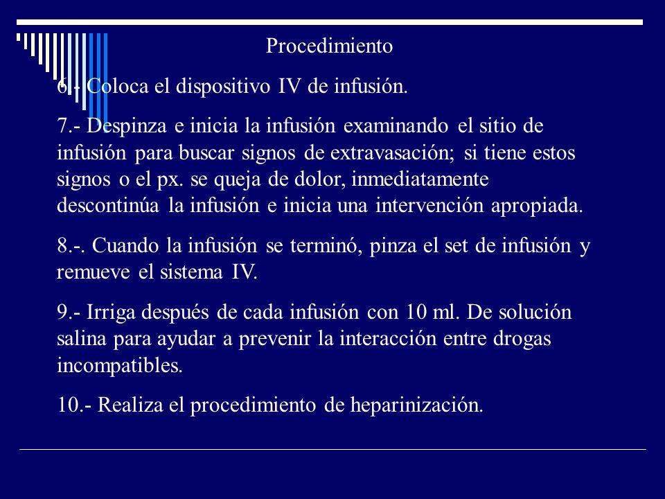 Procedimiento 6.- Coloca el dispositivo IV de infusión.