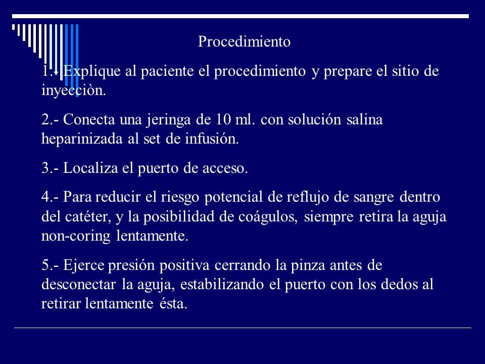 Procedimiento 1.- Explique al paciente el procedimiento y prepare el sitio de inyecciòn.
