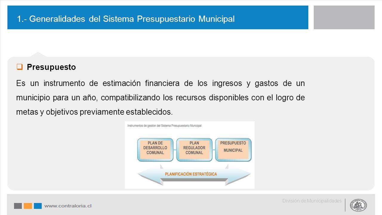  Presupuesto Es un instrumento de estimación financiera de los ingresos y gastos de un municipio para un año, compatibilizando los recursos disponibles con el logro de metas y objetivos previamente establecidos.