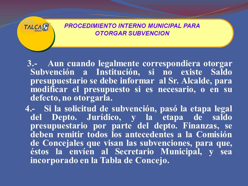 3.-Aun cuando legalmente correspondiera otorgar Subvención a Institución, si no existe Saldo presupuestario se debe informar al Sr.