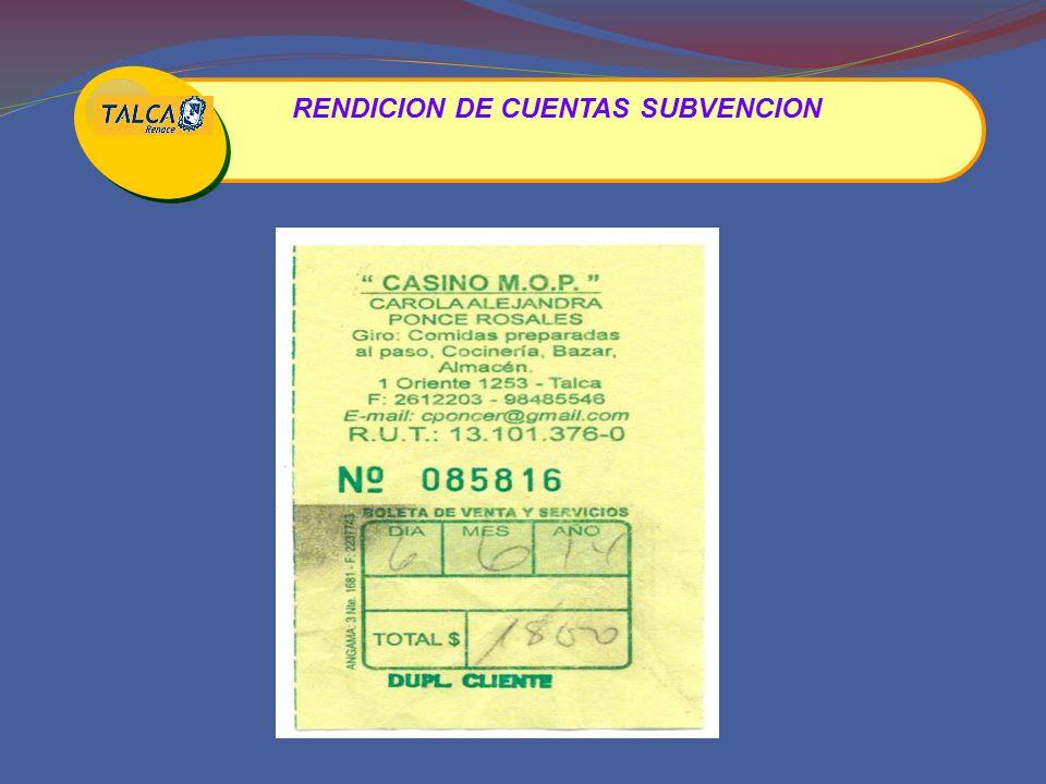 RENDICION DE CUENTAS SUBVENCION