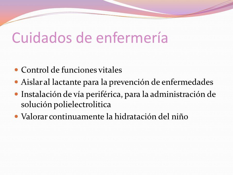Cuidados de enfermería Control de funciones vitales Aislar al lactante para la prevención de enfermedades Instalación de vía periférica, para la administración de solución polielectrolitica Valorar continuamente la hidratación del niño