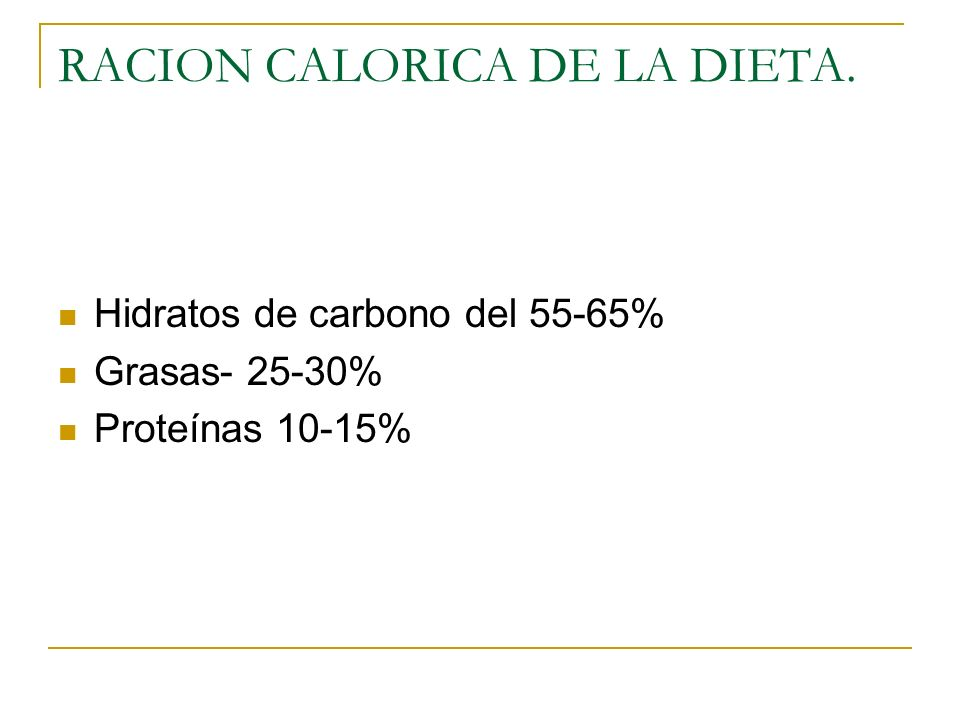 RACION CALORICA DE LA DIETA. Hidratos de carbono del 55-65% Grasas- 25-30% Proteínas 10-15%