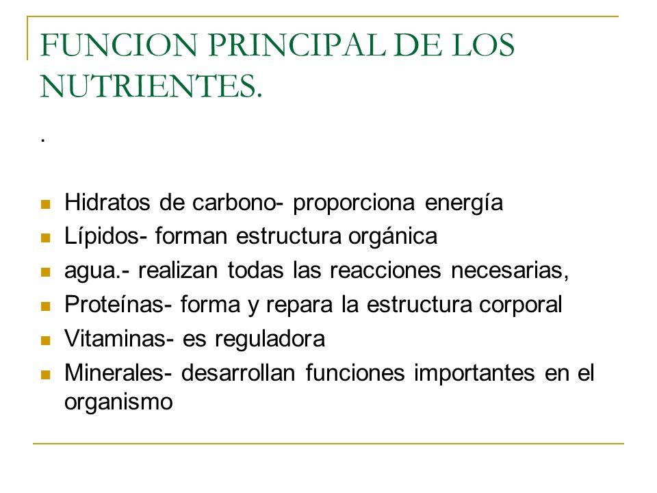 FUNCION PRINCIPAL DE LOS NUTRIENTES..