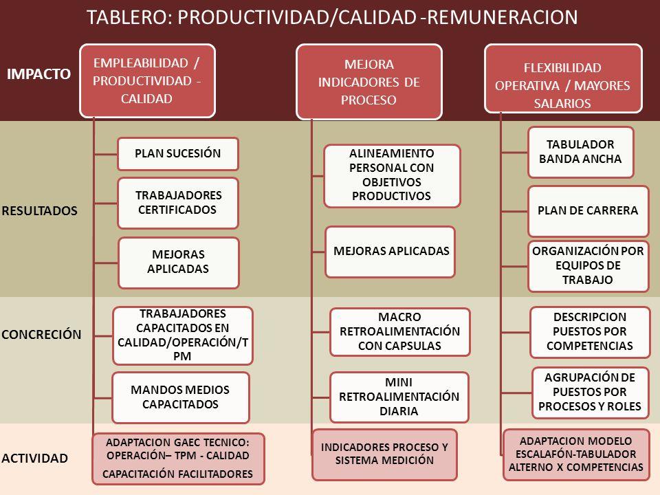 EMPLEABILIDAD / PRODUCTIVIDAD - CALIDAD PLAN SUCESIÓN TRABAJADORES CERTIFICADOS MEJORAS APLICADAS TRABAJADORES CAPACITADOS EN CALIDAD/OPERACIÓN/T PM MANDOS MEDIOS CAPACITADOS ADAPTACION GAEC TECNICO: OPERACIÓN– TPM - CALIDAD CAPACITACIÓN FACILITADORES MEJORA INDICADORES DE PROCESO ALINEAMIENTO PERSONAL CON OBJETIVOS PRODUCTIVOS MEJORAS APLICADAS MACRO RETROALIMENTACIÓN CON CAPSULAS MINI RETROALIMENTACIÓN DIARIA INDICADORES PROCESO Y SISTEMA MEDICIÓN FLEXIBILIDAD OPERATIVA / MAYORES SALARIOS TABULADOR BANDA ANCHA PLAN DE CARRERA ORGANIZACIÓN POR EQUIPOS DE TRABAJO DESCRIPCION PUESTOS POR COMPETENCIAS AGRUPACIÓN DE PUESTOS POR PROCESOS Y ROLES ADAPTACION MODELO ESCALAFÓN-TABULADOR ALTERNO X COMPETENCIAS ACTIVIDAD RESULTADOS IMPACTO CONCRECIÓN TABLERO: PRODUCTIVIDAD/CALIDAD -REMUNERACION