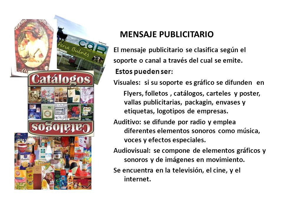 MENSAJE PUBLICITARIO El mensaje publicitario se clasifica según el soporte o canal a través del cual se emite.