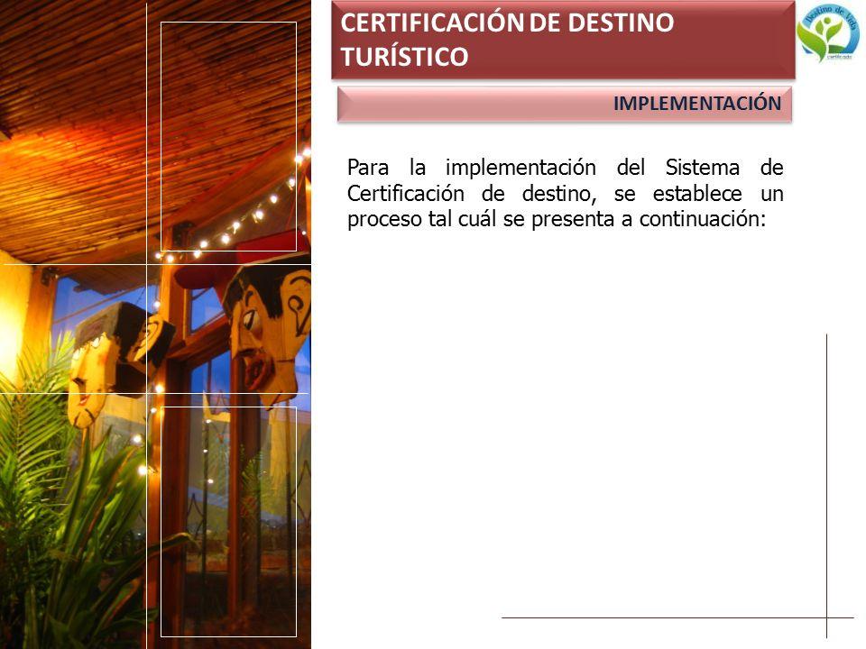 CERTIFICACIÓN DE DESTINO TURÍSTICO IMPLEMENTACIÓN Para la implementación del Sistema de Certificación de destino, se establece un proceso tal cuál se presenta a continuación:
