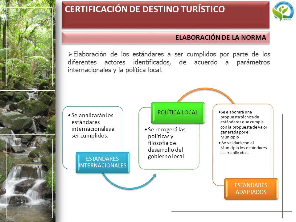 ELABORACIÓN DE LA NORMA CERTIFICACIÓN DE DESTINO TURÍSTICO  Elaboración de los estándares a ser cumplidos por parte de los diferentes actores identificados, de acuerdo a parámetros internacionales y la política local.