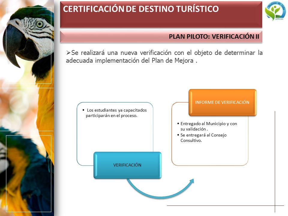 PLAN PILOTO: VERIFICACIÓN II CERTIFICACIÓN DE DESTINO TURÍSTICO  Se realizará una nueva verificación con el objeto de determinar la adecuada implementación del Plan de Mejora.