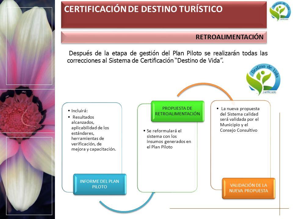 RETROALIMENTACIÓN CERTIFICACIÓN DE DESTINO TURÍSTICO Después de la etapa de gestión del Plan Piloto se realizarán todas las correcciones al Sistema de Certificación Destino de Vida .