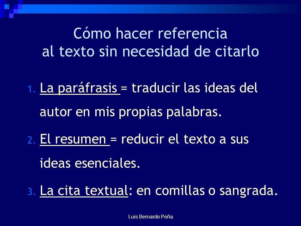 Luis Bernardo Peña Cómo hacer referencia al texto sin necesidad de citarlo 1.