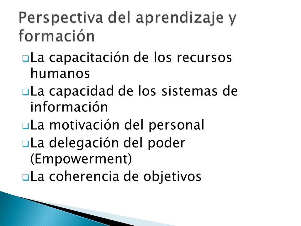  La capacitación de los recursos humanos  La capacidad de los sistemas de información  La motivación del personal  La delegación del poder (Empowerment)  La coherencia de objetivos