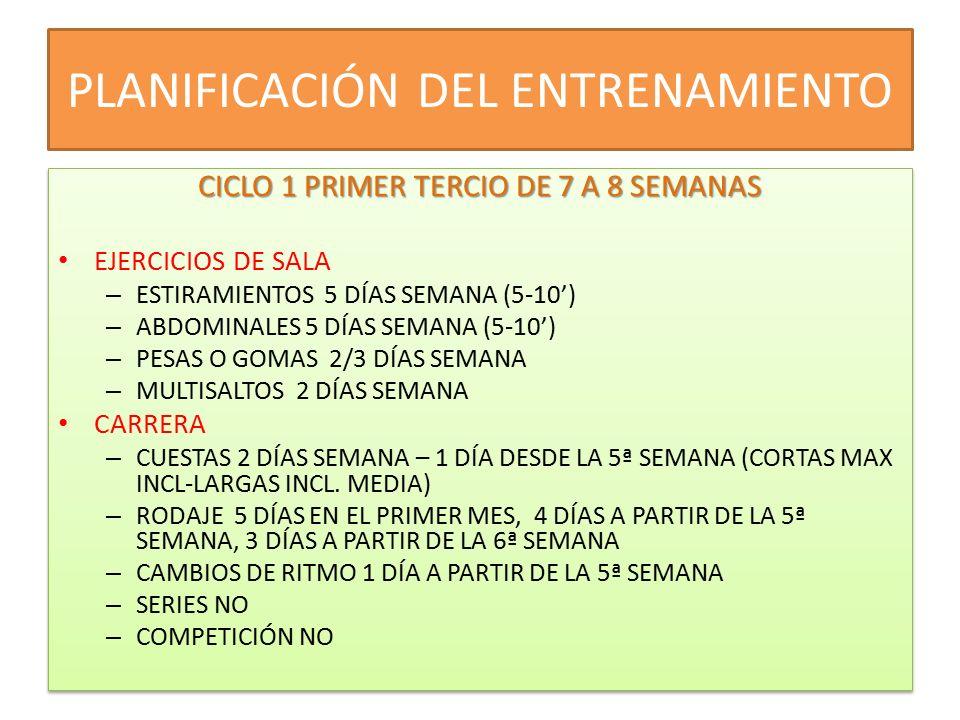 CICLO II SEGUNDO TERCIO- 7 A 9 SEMANAS EJERCICIOS EN SALA EJERCICIOS EN SALA ESTIRAMIENTO 5 DÍAS SEMANA ABDOMINALES 5 DÍAS SEMANA PESAS O GOMAS 1/2 DÍAS SEMANA MULTISALTOS 1 DÍA SEMANA CARRERA CARRERA CUESTAS NO RODAJE 2 DÍAS NORMAL Y 1 DÍA LARGO CAMBIOS DE RITMO DOS DÍAS LAS DOS PRIMERAS SEMANAS 1 DÍA EL RESTO SERIES 1 DÍA LA TERCERA Y CUARTA SEMANA, DOS A PARTIR DE LA 5ª SEMANA COMPETICIONES 2 O 3 CICLO II SEGUNDO TERCIO- 7 A 9 SEMANAS EJERCICIOS EN SALA EJERCICIOS EN SALA ESTIRAMIENTO 5 DÍAS SEMANA ABDOMINALES 5 DÍAS SEMANA PESAS O GOMAS 1/2 DÍAS SEMANA MULTISALTOS 1 DÍA SEMANA CARRERA CARRERA CUESTAS NO RODAJE 2 DÍAS NORMAL Y 1 DÍA LARGO CAMBIOS DE RITMO DOS DÍAS LAS DOS PRIMERAS SEMANAS 1 DÍA EL RESTO SERIES 1 DÍA LA TERCERA Y CUARTA SEMANA, DOS A PARTIR DE LA 5ª SEMANA COMPETICIONES 2 O 3