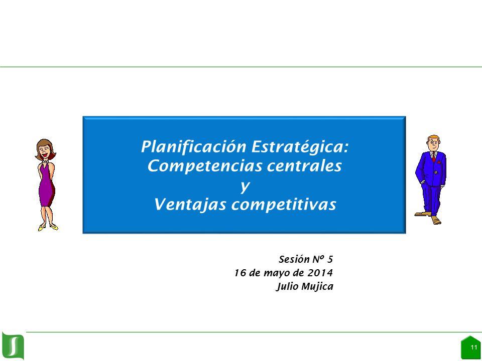 1 Planificación Estratégica: Competencias centrales y Ventajas competitivas Sesión Nº 5 16 de mayo de 2014 Julio Mujica 1