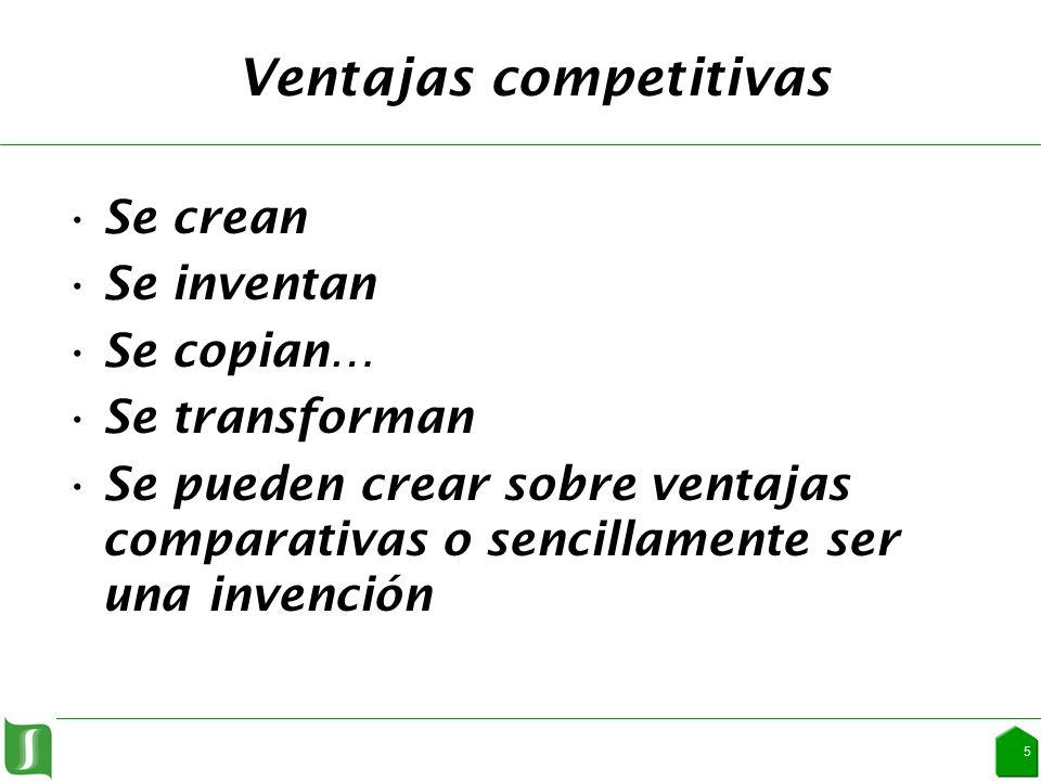 Ventajas competitivas Se crean Se inventan Se copian… Se transforman Se pueden crear sobre ventajas comparativas o sencillamente ser una invención 5