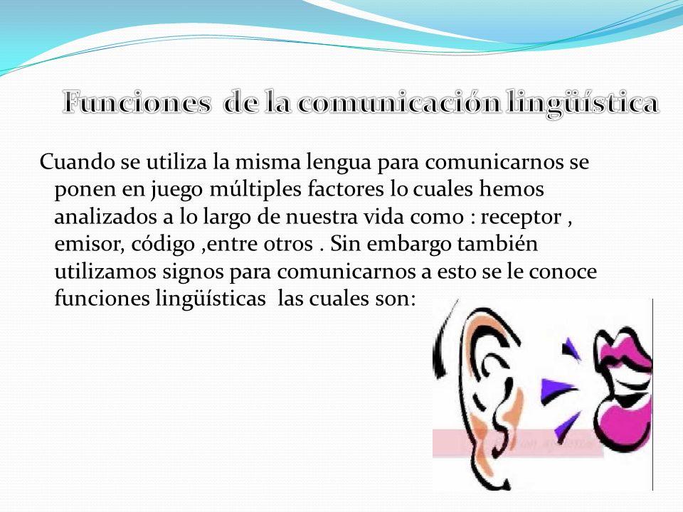 Cuando se utiliza la misma lengua para comunicarnos se ponen en juego múltiples factores lo cuales hemos analizados a lo largo de nuestra vida como : receptor, emisor, código,entre otros.